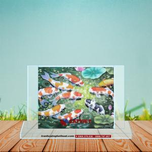 Tranh cá chép và hoa sen - Cửu ngư quần hội