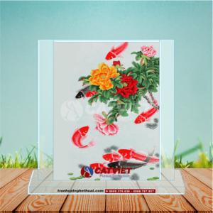 Tranh cá chép và hoa mẫu đơn - Cửu ngư quần hội